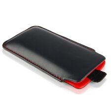 Leder Etui für HTC Desire 12 Plus Tasche Case Hülle schwarz / rot