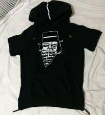 Haccula Short Sleeve Pullover Hoodie sweater Black White Street Art Goth Men S