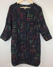 Kenar Size 8 Coat Multi Colored On Black Hidden Snap Front With Pockets Lined