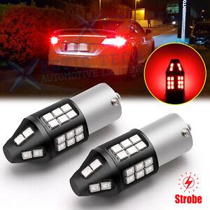 STROBE DRAW ATTENTION 1156 1156LL LED Brake Light Flashing Blink Stop Bulbs Red