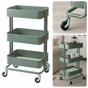GREEN 3-TIER ROLLING UTILITY CART IKEA RASKOG Kitchen Storage Trolley Organize