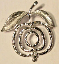 Vintage Costume Jewelry SARAH COVENTRY Silver Tone Apple Brooch Pin VERY NICE
