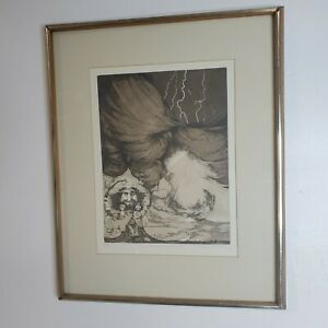 Charles Bragg Etching Limited Edition Almighty Fiend Signed Framed