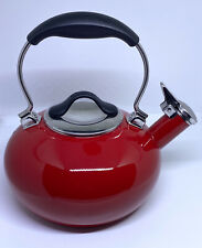 Chantal Eclipse Enamel on Steel Whistling Teakettle In Candy Apple Red 1.8 Qt