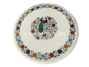 "24"" Multi Stone Floral & Peacock Inlay Marble Coffee Table Top Living Décor W002"