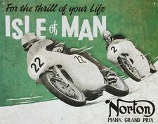 Norton Manx Grand Prix Isle of Man Motorcycle Racing Tin Sign - 16x12.5