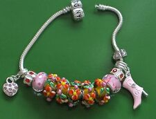 """pink lady 8.5"""" euro style solid 925 silver bracelet w/ high quality Murano beads"""