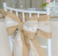 Hessian Burlap Chair Sash with Lace Stitched Edge Pew Bows Shabby Chic Wedding