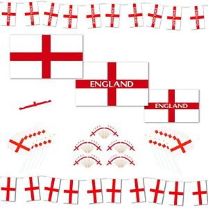 England Football Fans: Flags / Waving Flags / Bunting / Cocktail Sticks (Choose)