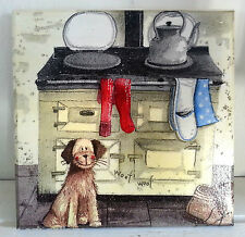 Wall Picture Plaque , Vintage Retro style Handmade / FUNNY DOG / Decoupage