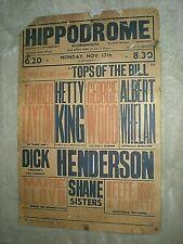 BOSCOMBE (BOURNEMOUTH) HIPPODROME ORIGINAL MUSIC HALL POSTER circa 1950s