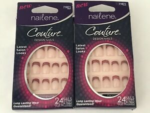 (2) NAILENE COUTURE SILVER & RED FRENCH DESIGN GLUE ON NAIL KIT - 71871