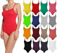 Womens Plain Sleeveless Strappy Camisole Bodysuit Ladies Dance Wear Leotard Top