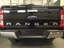 RANGER Rear Tailgate Sticker Decal. 2 Colour. Silver with White Outline. 12-19