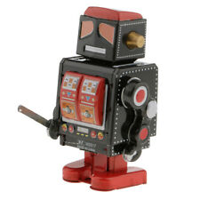 Old-fashioned Wind Up Tin Police Robot w/Key Clockwork Toy Collectible Black