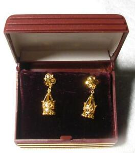 Solid Yellow 22 Kt Gold India Dangle/Stud Earrings Marked 916 KOM - Item N. 40