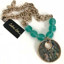NEW w/Tags COOKIE LEE Gold-tone Circle Link Glass Beaded Abalone Shell Necklace