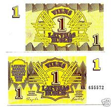 LATVIA LETTLAND 1 ROUBLE  1992 RUSSIA  FIRST INDEPENDENCE  BANKNOTE  UNC