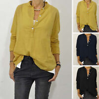 Womens Long Sleeve Stand Collar Casual Loose Shirt Cotton Linen Tunic Top Blouse