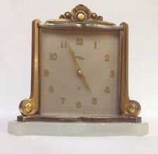 Vintage ImHof 8 Day Clock 15 Jewel Brass & Marble Table Desktop Clock