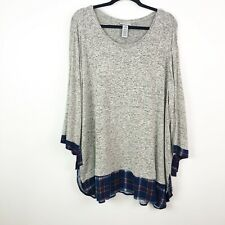 Catherines Top womens 3X Gray comfysoft 2-fer blouse bow sleeve plaid pullover