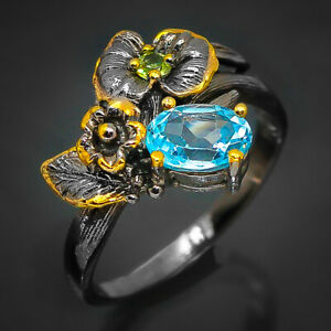Natural Blue Topaz Ring Sterling silver 925 Thail Vintage 10 gold plated / RVS74