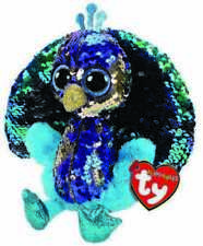 "2019 TY 6"" Flippables TYSON Peacock Beanie Boos Sequins Plush w/ Ty Heart Tags"