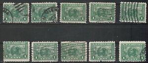 USA Scott #  401  1 Cent Balboa  Perf 10 Green Used lot of 10 (401-10-2)