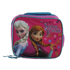 New Dsney Frozen Elsa Anna Sister Forever Hot Pink School Lunch Box Bag