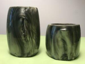 VINTAGE BEAUTIFUL ART DECO  GREEN TONE CATALIN LAVA BAKELITE VASES-PEN HOLDERS