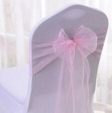 150x Pink Organza Sheer Chair Sashes Wedding Banquet Ceremony Bow Decorations