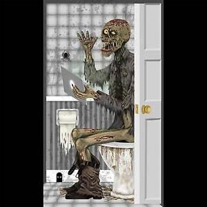 Funny ZOMBIE TOILET BATHROOM DOOR COVER Wall Poster Walking Dead Prop Decoration
