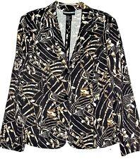 "REQUIREMENTS Jacket/Blazer Two Button Black, Brown & Tan Floral SZ XL ""NWOT"""