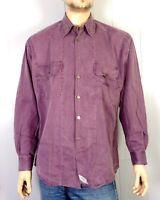 vtg 90s Levis Wine Purple Metal Button Spell Out Logo Button Down Shirt sz M