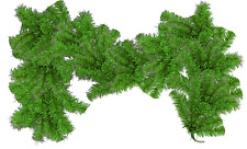 6Ft Alpine Green Christmas Brush Garland Shiny Green Tinsel Branches Outdoor