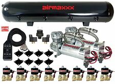 "AirMaxxx Chrome 480 Air Compressors 1/2"" Valves Air Ride Black 7 Switch Tank"