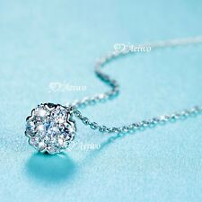 925 sterling silver simulated diamond pendant chain necklace flower blossom