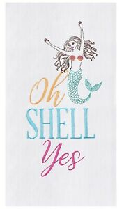 Oh Shell Yes Mermaid Embroidered Flour Sack Kitchen Dish Towel