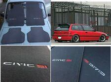 fit for 1988- 91 Honda Civic Hatchback ef si R Floor Mats carpet gray set of4