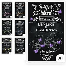 100 Save the Date Wedding Magnet Cards+ Envelopes Vintage Chalkboard Butterflies