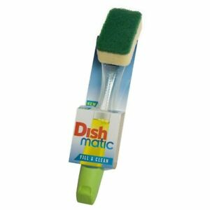 Dishmatic Washing Up Green Handle Brush with Fill & Clean Green Sponge