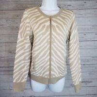 Banana Republic Womens Sweater Sz Medium Beige White Animal Print Wool Blend
