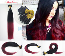 16inch 1G Nano Rings Beads Double Drawn Remy Human Hair Extensions 50s #T1B/BUG