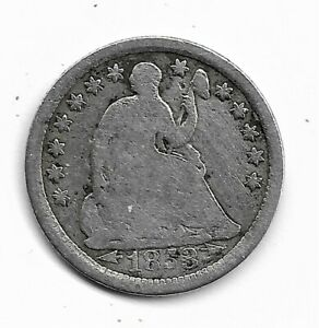 1853 Seated Liberty Half Dime - Var 3. with arrows - Silver - Good condition