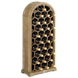 Honeycomb Wine Rack Wooden Free Standing 28 Bottle Holder H95cm Christow