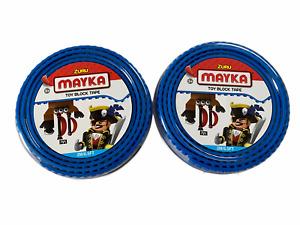 lot of 2 Zuru Mayka Toy Block Tape For LEGO & Building Blocks 2M / 6.5 Ft. Blue