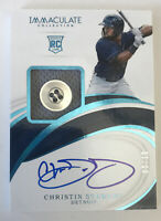 2019 PANINI IMMACULATE COLLECTION CHRISTIN STEWART RPA JERSEY BUTTON AUTO #9/10