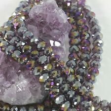 """16"""" Str. 8mm Chinese Crystal Glass Beads Faceted Rondelle Amethyst Quartz AB"""
