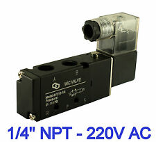 4 Way 2 Position Inline Directional Control Solenoid Air Valve 220V AC 1/4