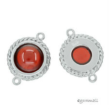 Sterling Silver Garnet CZ Round Pendant / Earring Connector Bead 12mm 1PC #97377